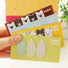 2x  Bear Leaf Sticker Flags Bookmark Page Marker Memo Index Tab Sticky Notes Pop