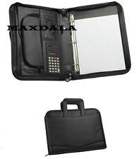 3-Ring Binder Zippered Padfolio Briefcase Binder, Notepad, Calculator Organizer