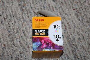 Genuine New Sealed - Kodak 10B Black & 10C Color Ink Printer Cartridge Combo