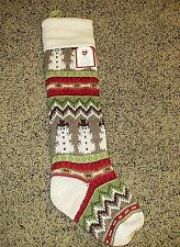 NWT Pottery Barn Kids classic fair isle knit snowman Christmas stocking