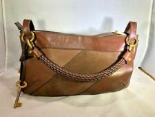 Fossil Fifty Four Whitney Patchwork Brown Leather Tote Handbag Purse Hobo (P)