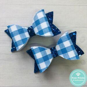 Pair Of Blue Gingham & Glitter Pigtail Bows - School Uniform Hair Clips