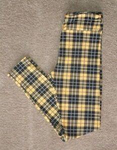 LuLaRoe OS ~ Yellow Black White PLAID ~ RARE Leggings ~ Clueless Checkered