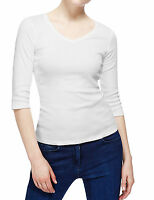 Marks & Spencer Womens Pure Cotton 3/4 Sleeve V Neck New M&S T Shirt Top Vee Tee