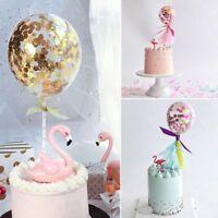Colorful Birthday Mini Insert Latex Balloon Confetti Straw Ribbon Cake Topper