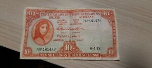 The Central Bank Of Ireland Ten Shillings Note 06-06-68