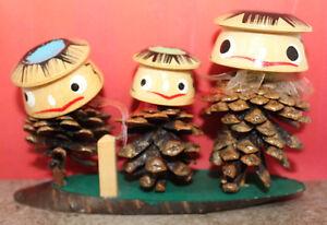 Japanese Creative Sosaku Wooden Kappa Pinecone Figure Figurine Souvenir Vintage