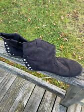 Mark & Maddux Studded Suede Black Ankle Boots Size 10 Women's
