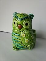 Vintage Lefton Green Owl Ceramic Planter H6818 Extremely Rare!! MCM