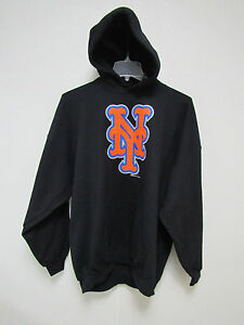 MLB New York Mets Hooded Pullover Black Sweatshirt Applique XX-Large by Stitches