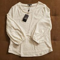 Women's ADRIANNA PAPELL Ivory Lined 3/4 Sleeve Blouse Scoop Neck Size Large