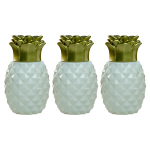 TIKI Glass Table Torch Light Yard 6.5 Inch Pineapple Paradise White Gold 3 Pack