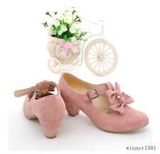 5Colors Womens Sweet Kitten Mid Heels T-Straps Bowknots Mary Janes Date Shoes Sz