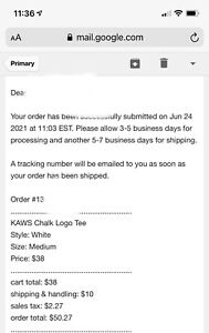 Supreme x Kaws Chalk Box Logo Tee White Size Medium **CONFIRMED ORDER**
