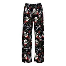 Mexican Sugar Skull Santa Reindeer Rose Candy Canes Pyjama Pants Sleepwear Goth