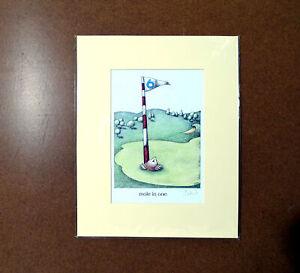 Mole in One Golf Simon Drew Print Mounted Christmas Gift Signed Entertaining Art