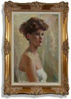 Girl portrait, 1988 vintage oil painting, impressionism, living room decor