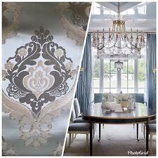NEW! SALE! Designer Brocade Satin Fabric- Blue- Upholstery Damask Drapery