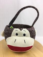 Dan Dee Plush Sock Monkey Gift Basket Valentines Day Tote Baby Gift brown NWOT