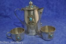 Navajo Indian Silver & Turquoise Tea/Coffee Pot and Set of Two Cups