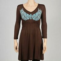 COWGIRL TUFF Western Brown Turquoise Cross Wings Embroidery V-Neck Dress NWT