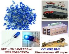 SET N.20 MICRO LAMPADE a INCANDESCENZA MM.03 6V LUCE BLU per SCALA-N e SCALA-HO