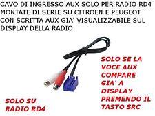 CAVO AUX IN PER TUTTE LE CITROEN C2 C3 C4 PEUGEOT 307 308 207 MP3 IPOD radio RD4