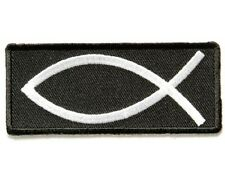 "(XX) JESUS FISH 3"" x 1.5"" iron on patch (3316) Biker vest cap hat Backpack"