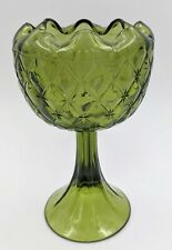 """Vintage Indiana Green Glass (Quilted) Pedestal Vase/Compote 8 3/4"""" Tall"""