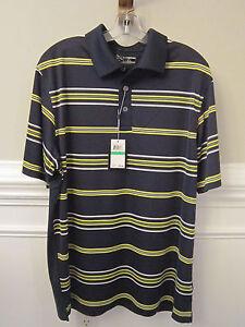 NWT $75 Men's CALLAWAY Polo Golf Shirt MOISTURE WICKING Navy Yellow Stripe Sz L