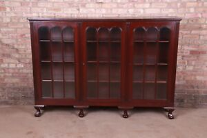 Antique Carved Mahogany Triple Bookcase With Ball and Claw Feet, Circa 1920s