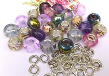 35 Tropical Mix- Pink Glitter, AB Glass,Metallic & alloy Spacers*large hole *