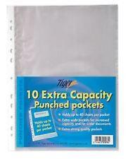 10 A4 Capacité supplémentaire poinçonné poches solides en plastique fichier Document Portefeuille - 301078