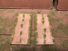 """28mm, 3"""" (rural) Straight road sections (6""""length),  2 pc,  PAINTED"""
