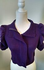 BCBGeneration Women's Purple Zip Up Cardigan Sweater Sz S Ruched 3/4 Sleeve