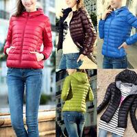 Warm Damen Kapuzen Steppjacke Padded Übergangsjacke Trench Coat Mantel  L/P