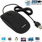 Wired Usb Optical Mouse For Pc Acer Laptop Computer Scroll Wheel Black Mice