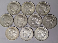 Lot of 10 Peace Silver Dollars 1922 1922-D 1922-S 1923 1923-S Circulated
