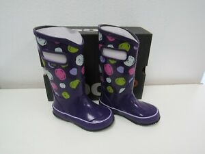 New BOGS Kids Girls Rain Boots Sketch violet Dot Multi Print Size 10