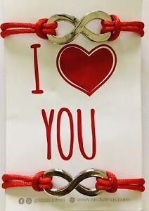 Infinite Love 2pcs Red String Couple Bracelet Adjustable Handmade Card