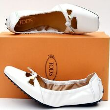 TOD'S New sz 40 - 10 Designer Womens Leather Ballerina Ballet Flats Shoes White