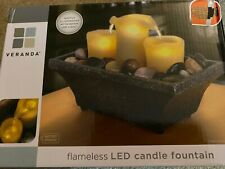 BRAND NEW! VERANDA 3 FLAMELESS LED LIGHT UP CANDLE WATER FOUNTAIN WITH ROCKS