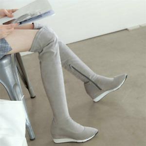 Women's Pointed Toe Wedge Over The Knee High Boots Zip Hidden Heel Pumps Shoes