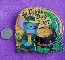 RARE Disney WDW St. Patrick's Day 2007 STITCH Jumbo Pin LE 750