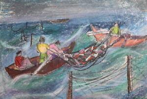 VINTAGE PASTEL DRAWING SEASCAPE BOATS FISHERMANS