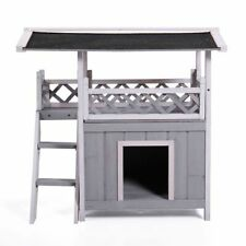 Outdoor Dog Pet Gray House with Two Story & Shelter