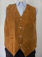 Vintage Mens Golden Brown Leather Suede Western Waistcoat Vest Size UK 40 F1212