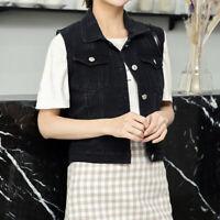 Lady Denim Waistcoat Biker Crop Jacket Vest Jeans Tops Gilets Sleeveless Fashion