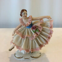 Dresden Figurine Lady Dancing Lace Pink Dress Germany 5 Prong Crown Broken Pinky
