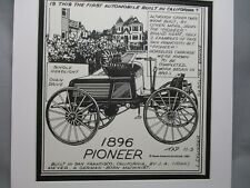 1896 Pioneer Auto Pen Ink Hand Drawn  Poster Automotive Museum